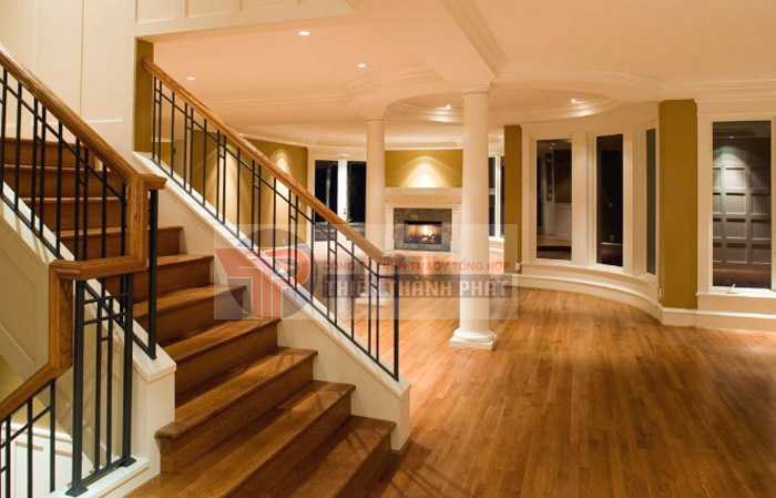 Cầu thang lát sàn gỗ công nghiệp giúp đảm bảo an toàn cho người sử dụng