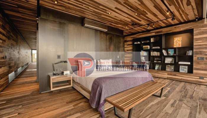 Ốp tường và trần nhà với sàn gỗ công nghiệp