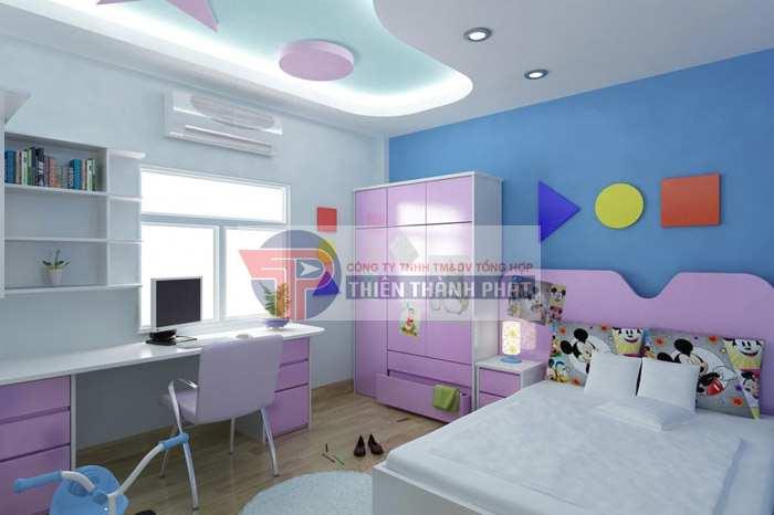 Lựa chọn hình khối mẫu trần thạch cao phòng ngủ trẻ em theo giới tính