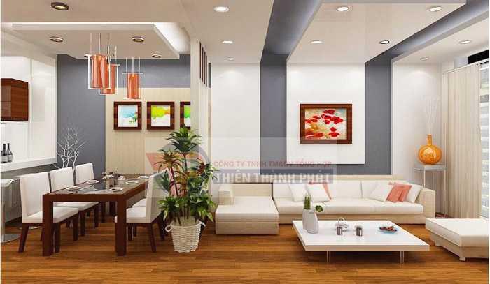 Trần thạch cao phòng ăn đẹp theo kiểu giật cấp