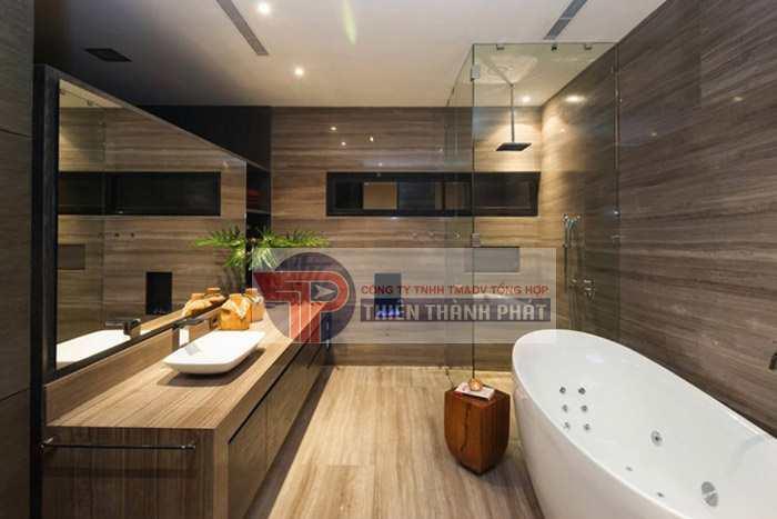 Sàn gỗ công nghiệp vân strong phòng tắm