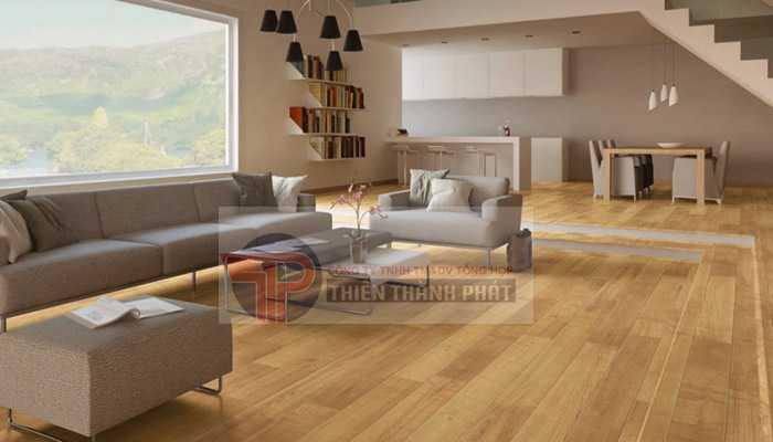 Có hai loại sàn gỗ được sử dụng nhiều cho không gian phòng khách đó là sàn gỗ tự nhiên và sàn gỗ công nghiệp