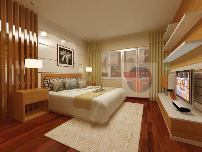 Sàn gỗ công nghiệp thường dễ phù hợp với nhiều phong cách thiết kế phòng ngủ