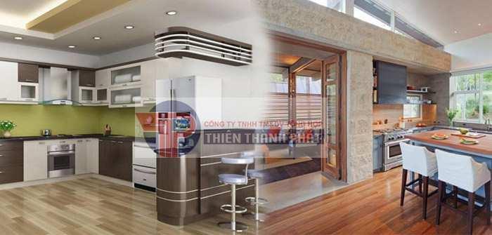Lát sàn gỗ công nghiệp cho phòng bếp sẽ giúp bạn có được một không gian sống thật sang trọng và hiện đại