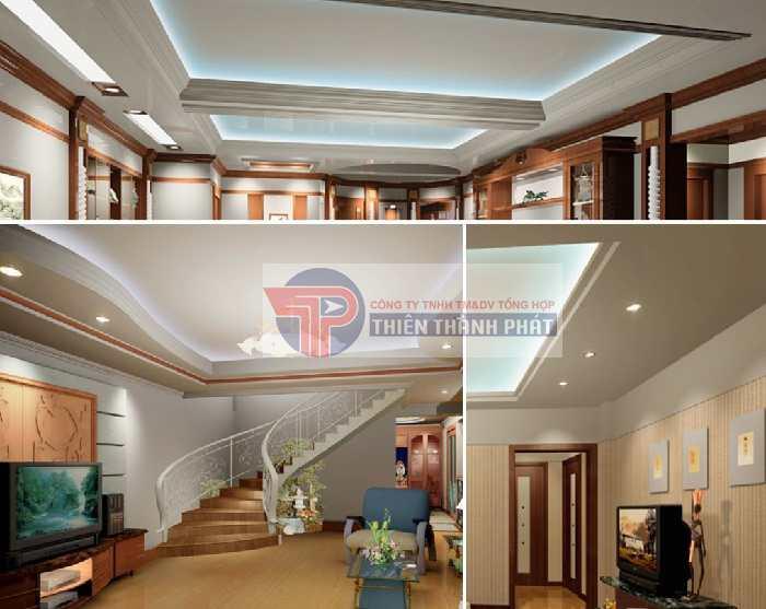 Trần thạch cao giật cấp có khả năng ứng dụng linh hoạt để phù hợp với nhiều không gian phòng