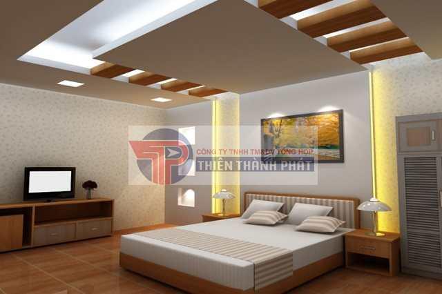 Tạo không gian phòng ngủ ấn tượng với vách thạch cao