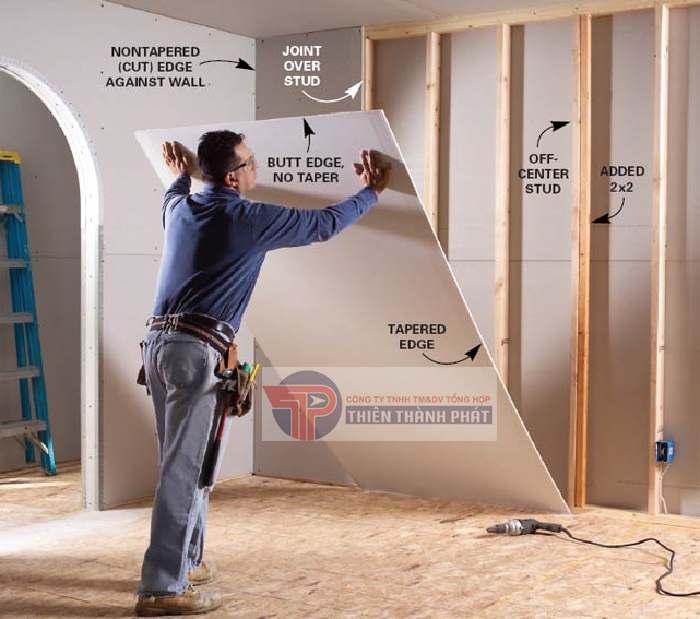 Vách thạch cao được sử dụng nhằm mục đích phân chia không gian, tăng tính thẩm mỹ cho căn phòng