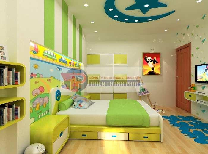 Tạo không gian mở cho phòng ngủ của trẻ với trần thạch cao trăng sao