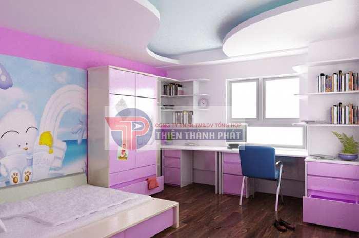 Phòng ngủ bé gái mang với kiểu trang trí trần thạch cao nhẹ nhàng